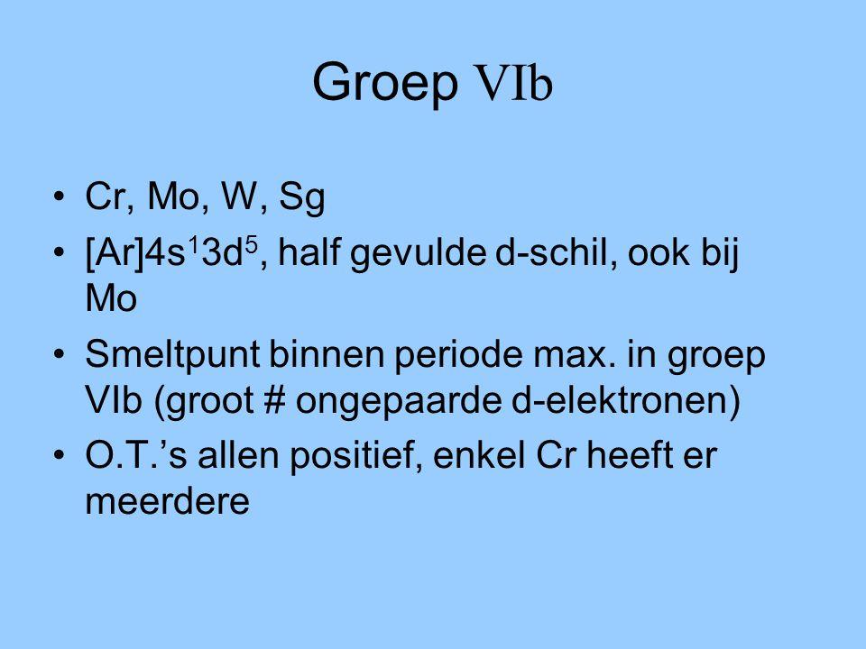 Groep VIb Cr, Mo, W, Sg [Ar]4s13d5, half gevulde d-schil, ook bij Mo